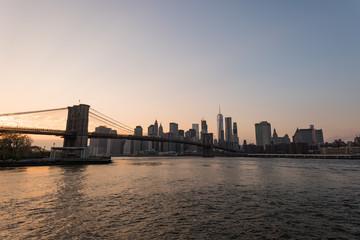 New York Nightscape with Brooklyn bridge