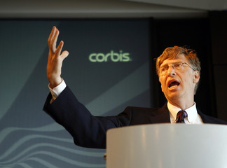 Microsoft Corp Chairman and Corbis owner Bill Gates speaks during Corbis annual meeting in New York