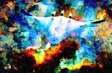 Nasa spaceship in cosmic space. Color cosmic abstract background. Crackle effect