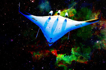 Nasa spaceship in cosmic space. Color cosmic abstract background.