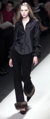 MODEL IN BLACK SUEDE PANT WITH SABLE CUFF AT OSCAR DE LA RENTA SHOW.