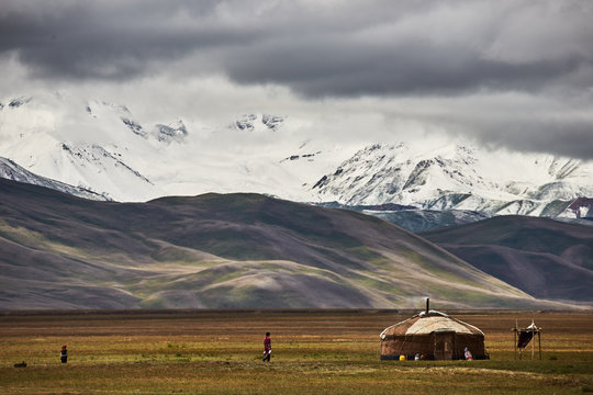 Nomad yurt in the mountain valley of Central Asia