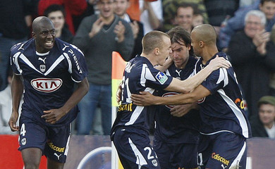 Bordeaux players celebrate goal during French Ligue 1match against Nancy at Chaban Delmas stadium in Bordeaux
