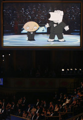 "Show opens with cartoon characters from ""Family Guy"" on stage at the 59th Primetime Emmy Awards in Los Angeles"