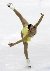 Meier performs in the women's short program during the Figure Skating competition at the Winter Olympic Games
