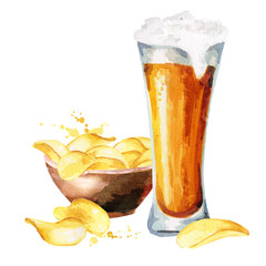 Beers and crisps. Watercolor hand drawn illustration
