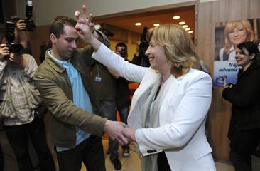 Slovakian opposition presidential candidate Radicova dances with professional dancer Modrovsky in Bratislava
