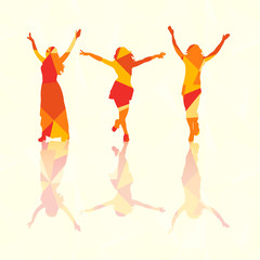 isolated silhouette of a girl dancing, having fun