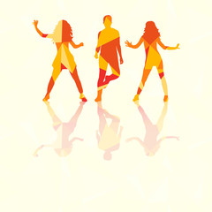 silhouette of people dancing, multi-colored triangles