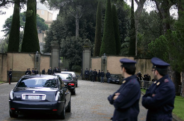 Cars with diplomatic envoys from Muslim countries arrive at Pope's summer residence of Castelgandolfo outside Rome