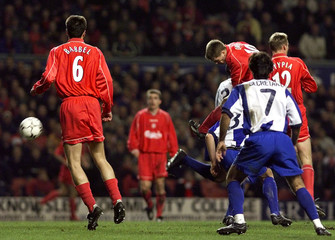 LIVERPOOL'S OWEN SCORES AGAINST PORTO.