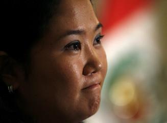 Peru's congresswoman Keiko Fujimori gestures during a news conference in Lima
