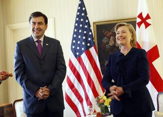 Georgia's President Saakashvili meets U.S. Secretary of State Hillary Clinton in New York