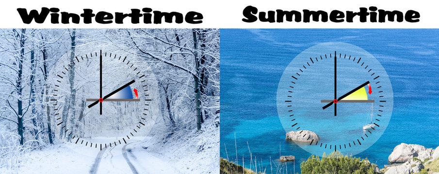 Darstellung der Winterzeit gegen Sommerzeit,