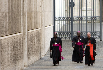 Bishops and cardinals arrive for the opening meeting of the Synod of the bishops at the Nervi Hall in the Vatican