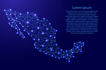Map of Mexico from polygonal blue lines and glowing stars vector illustration