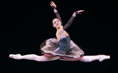 Ballet dancer Maria Laura Matienzo performs in Roquetas de Mar, southern Spain