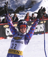USA'S CLARK CELEBRATES WOMEN'S WORLD CUP SUPER G FOURTH PLACE FINISH.