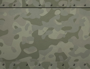 Grunge military metal armor with camouflage and rivets 3d illustration