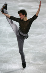 Switzerland's Pfeifhofer performs during the men's Short Programme of the European Figure Skating Championships at the Torwar ice rink in Warsaw