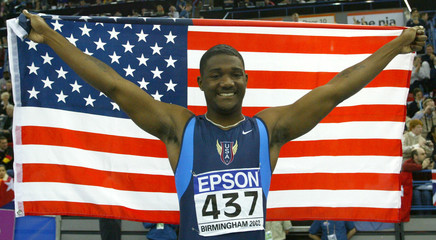 GATLIN CELEBRATES WINNING 60 METRES FINAL AT THE WORLD INDOOR ATHLETICCHAMPIONSHIPS IN BIRMINGHAM.