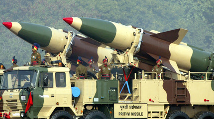 SOLDIERS STAND BESIDE INDIA'S SURFACE-TO-SURFACE MISSILE PRITHVI IN NEW DELHI.