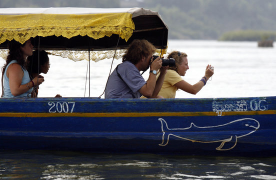 Tourists try to take pictures of an Irrawaddy dolphin, also known as the Mekong dolphin, swimming in the river at Kampi village