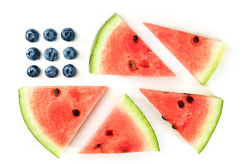 American flag of blueberries and watermelon slices on white