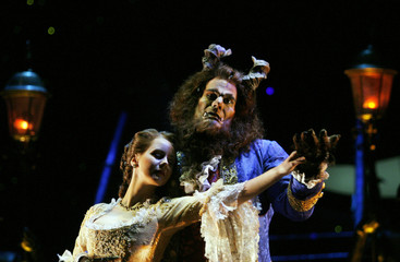 "Spanish actress Moller and actor Ordinas perform during dress rehearsal of ""Beauty and the Beast"" musical show in Madrid"