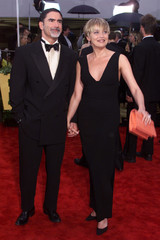 SHARON STONE AND HUSBAND BRONSTEIN ARRIVE AT 57TH ANNUAL GOLDEN GLOBES.