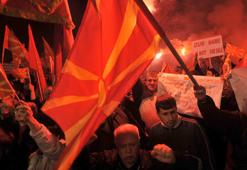 Demonstrators protest against the name dispute between Greece and Macedonia in Skopje