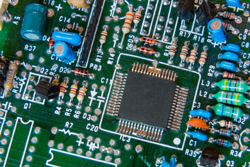 Close-up background of electronical board with accent on a chip