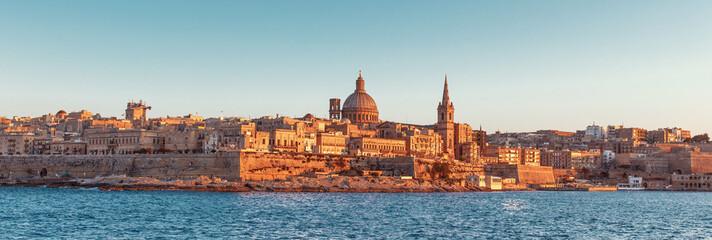 Valletta cityscape panorama at sunset, Malta, EU
