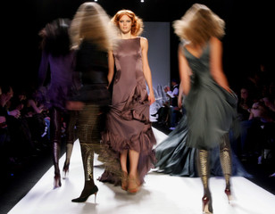 Models on runway in fashions from Zac Posen Fall 2005 Collection.