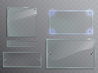 Vector illustration set of transparent glass plates, panels with metal accessories isolated on translucent background Fototapete