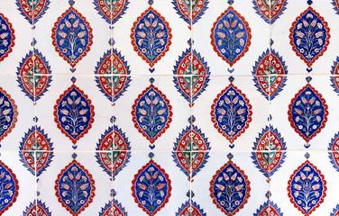 Ancient Ottoman patterned tile composition.