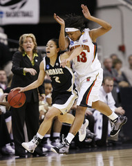Vanderbilt University's Jennifer Risper takes the ball up the court against the University of Maryland's Demauria Liles during the first half of their NCAA tournament regional semi-final basketball game in Raleigh