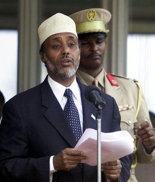 SOMALI TRANSITIONAL PRESIDENT HASSAN MAKES SPEECH DURING SIGNING CEREMONY IN NAIROBI.