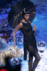 Model presents creation by French designer Franck Sorbier as part of his Autumn/Winter 2006-2007 Haute Couture fashion show in Paris