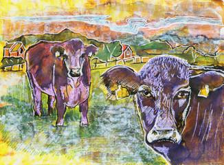 cow and buffalo , original painting