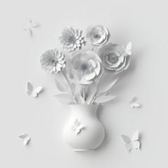 3d odpłacają się, biali papierowi kwiaty inside śliczna waza, latający buterflies, ślubny kartka z pozdrowieniami