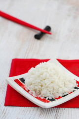 Boiled rice on plate