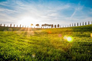 Paysage du Val d'Orcia en Toscane au soleil couchant