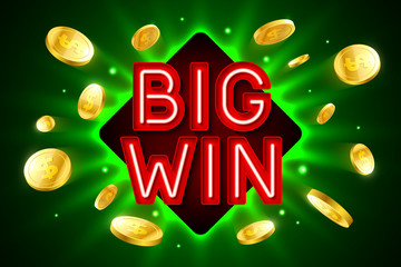 Big Win banner for gambling casino games, bingo or lottery