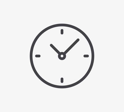 Clock Line Icon. Editable Stroke.