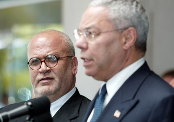 PALESTINIAN NEGOTIATOR EREKAT AND US SECRETARY OF STATE POWELL AFTER AMEETING IN WASHINGTON.