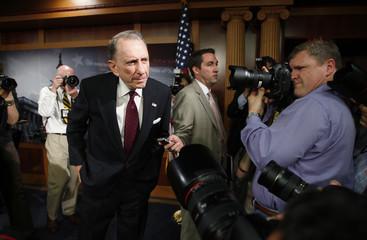 U.S. Senator Arlen Specter faces the media after addressing a news conference in Washington