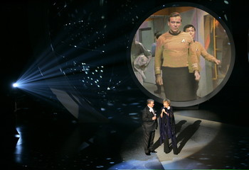 William Shatner and Frederica Von Stade perform at the 57th annual Primetime Emmy Awards in Los Angeles.