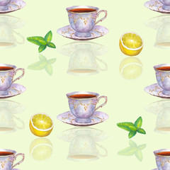 Seamless pattern with watercolor porcelain tea cups, lemon and mint leaves on light green  background