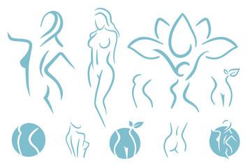 Woman figure logo illustration
